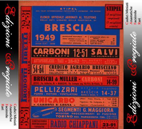 1949 Brescia Elenco Telefonico Ufficiale Abbonati Telefono Seat